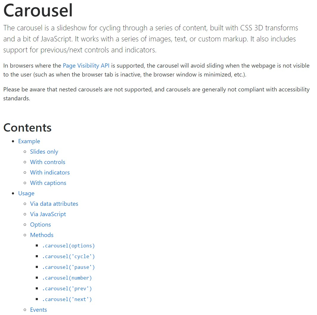 Bootstrap carousel  main  information