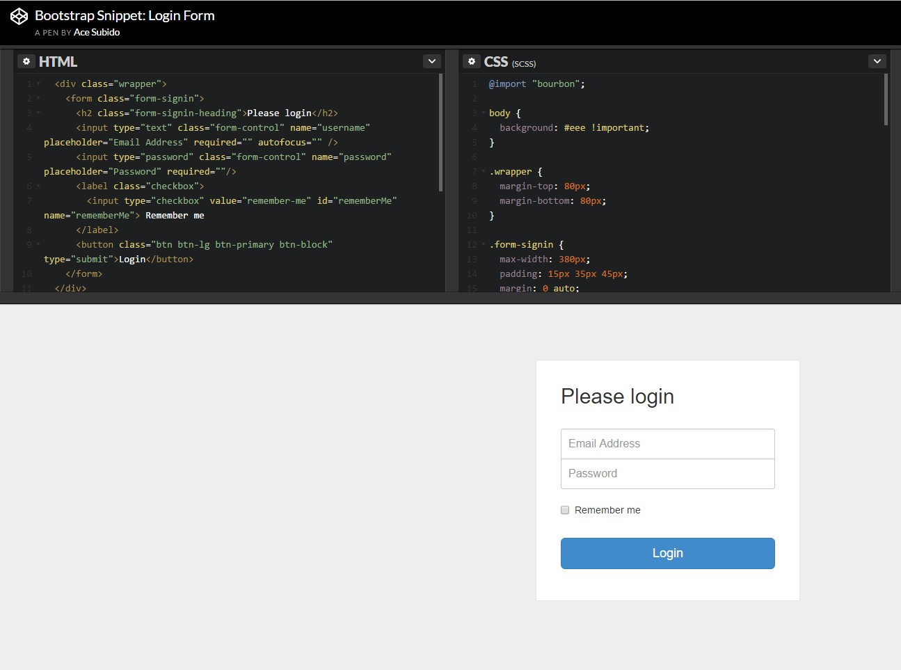 An additional  representation of Bootstrap Login Form