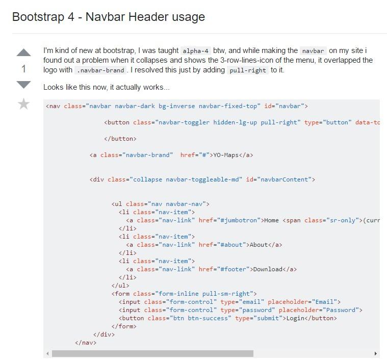 Bootstrap 4 - Navbar Header  utilisation