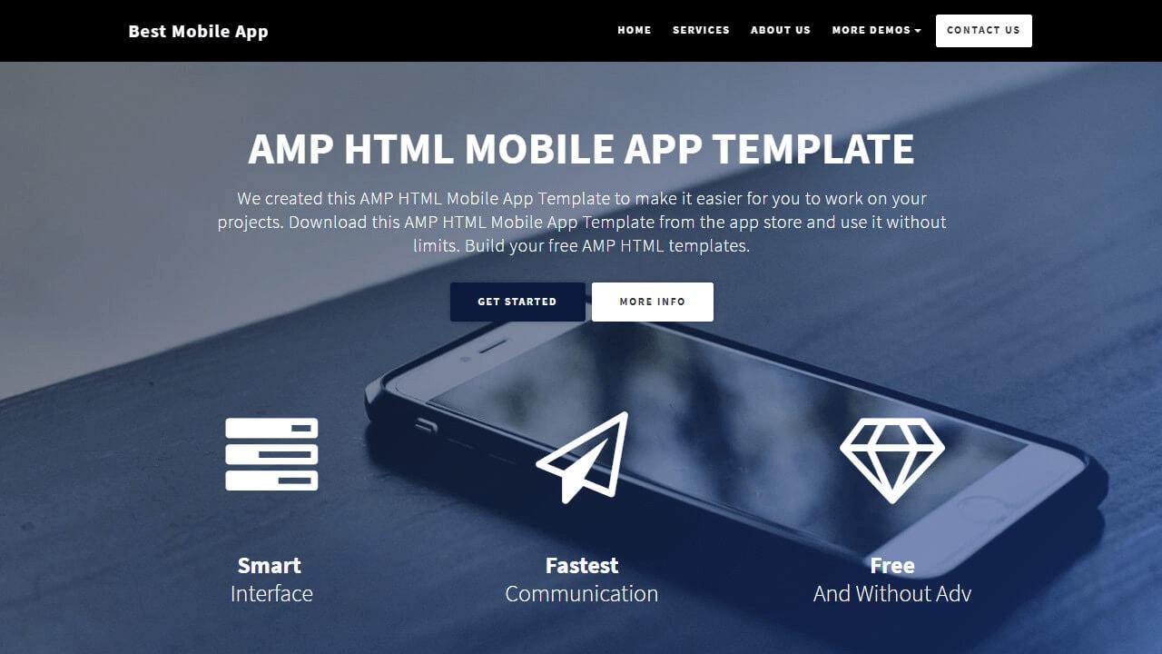 Startup AMP HTML Mobile App Template